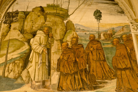 Fresco in Abbey of Monte Oliveto Maggiore, Siena, Tuscany - Italy