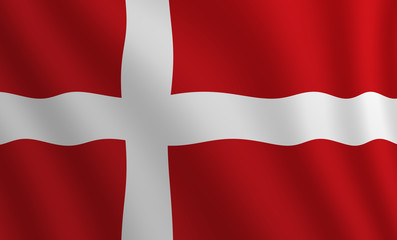 Graphic illustration of a flying Danish flag