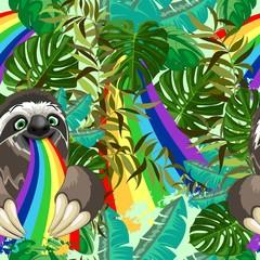 In de dag Draw Sloth Spitting Rainbow on Rainforest Vector Seamless Pattern