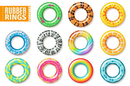 Rubber rings. Swimming inflatable kids toys, float colorful lifesaver ring. Realistic vector set