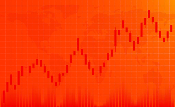 Forex market. Uptrend. Conceptual orange background for decoration and design. The place forcopy space.