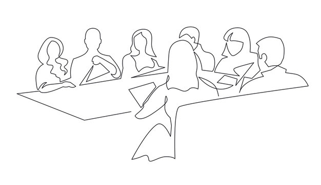 Business team meeting continuous line drawing