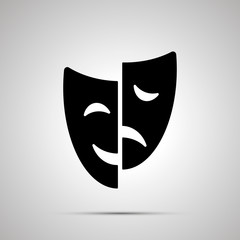 Happy and sad drama mask silhouette, simple icon
