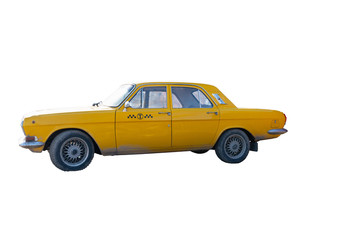 yellow taxi car on white background. chrome elements of the car body 60-70 years.