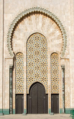 Gates of the Hassan II Mosque with beautiful patterns, built in 1993. Hassan II Mosque is the biggest Mosque in Africa and the 5th largest in the world.