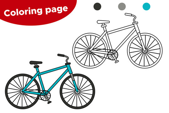 Coloring page for children. Cartoon bicycle. Learning transportation for preschool kids.