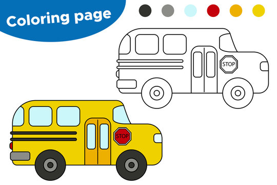 Coloring page for kids. Vector cartoon school bus. Learning transportation for preschool children.
