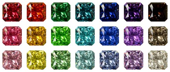 Set of multi colored radiant cut diamonds isolated on white background