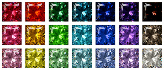 Set of multi colored princess cut diamonds isolated on white background