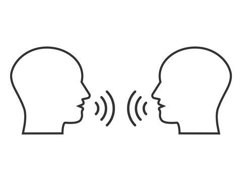 Head, people, listen and speak icon. Vector illustration, flat design.
