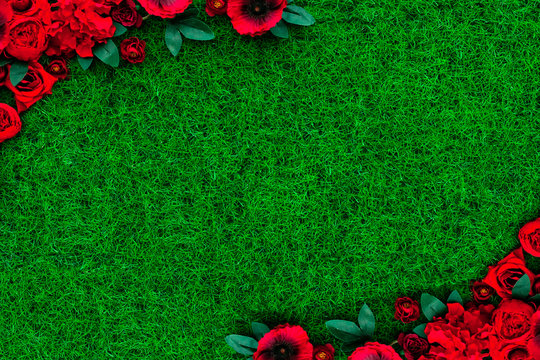Green grass texture pattern with flowers frame. template for design.