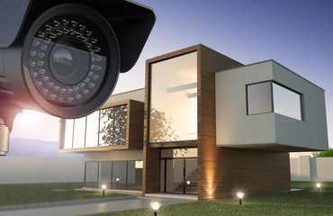 Security camera and modern house, 3D illustration