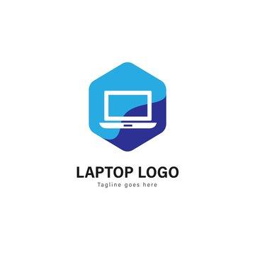 Laptop template design. Laptop logo with modern frame vector design