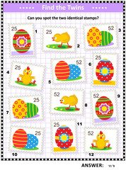 Spring and Easter picture puzzle with painted eggs and chicks: Find the two identical postage stamps. Answer included.