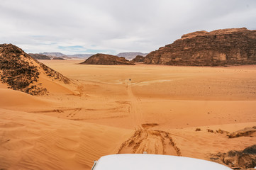 A beautiful landscape view of desert from of a car. Travel concept