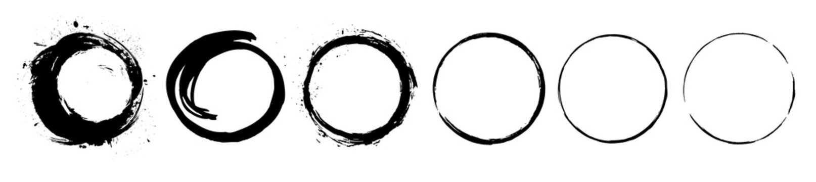 Abstract black paint brushstroke circles pack. Enso zen ink brush style symbol set.