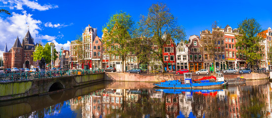 Foto op Aluminium Amsterdam Romantic canalas of Amsterdam. Travel in Holland
