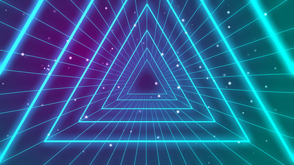 Retro 1980s synthwave glowing neon lights triangle tunnel