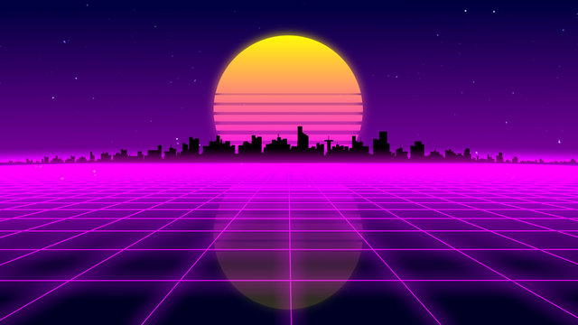 Retro 1980s synthwave glowing neon lights plane with sun and city skyline