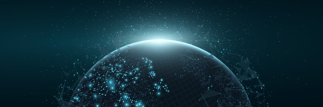 Futuristic Planet Earth. World map of glowing square dots. Modern abstract background. Space composition. Web banner. Global network connection. Vector illustration.