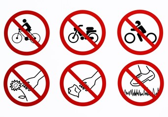 List of bans used in some public parks. Don't ride a bike, don't ride a motorbike, don't park a motorcycle, don't litter, don't pick flowers, don't step on the grass