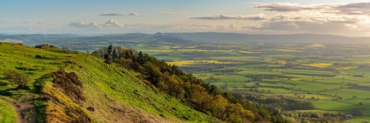 View from the Wrekin, near Telford, Shropshire, England, UK - looking south towards Eyton Wall mural