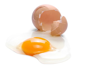 Cracked egg, eggshell with yolk isolated on white background