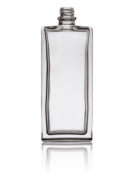 empty glass perfume bottle isolated on a white background with reflection
