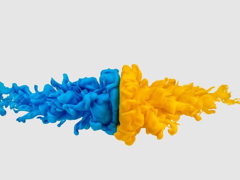 絵の具 互角の衝突 青対黄①