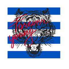 Typography graphic print Tiger head illustration