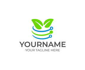Plant technology and innovation, leaves and circuit board, logo design. Artificial intelligence, agriculture, agricultural, farm and farming, vector design and illustration