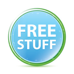 Free Stuff natural aqua cyan blue round button