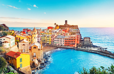 Panorama of Vernazza, national park Cinque Terre, Liguria, Italy, Europe. Colorful villages