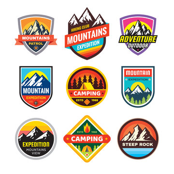 Set of adventure outdoor concept badges, summer camping emblem, mountain climbing logo in flat style. Extreme exploration sticker symbol. Creative vector illustration. Graphic design element.