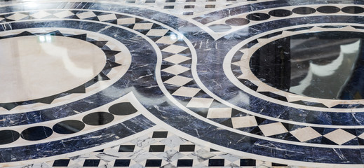 blue tiled smooth floor with abstract geometric pattern