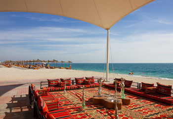 UAE: Beach on Sir Bani Yas island.  Abu Dhabi Emirate. Hookah cafe