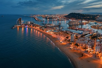 Wall Mural - Barcelona Coast aerial night view