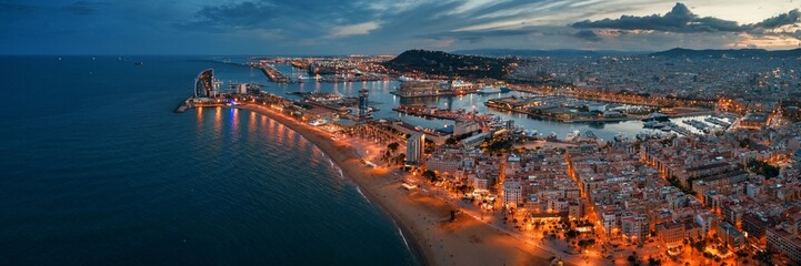 Aluminium Prints Barcelona Barcelona Coast aerial night view