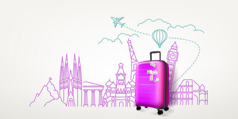 Obraz Photoreal violet suitcase with different travel famous sights. World travel vector concept - fototapety do salonu
