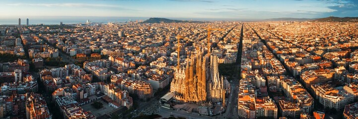 Canvas Prints Barcelona Sagrada Familia aerial view
