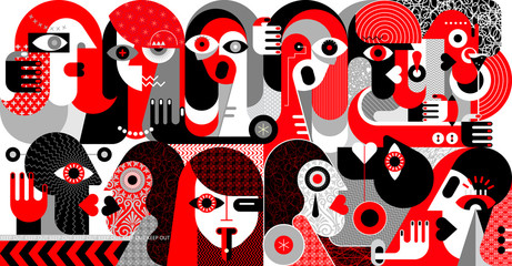 Autocollant pour porte Art abstrait Large Group of People vector illustration