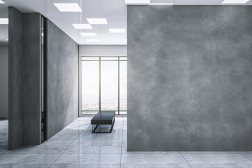 Grey exhibition hall with clean copyspace
