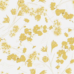 Seamless vector floral pattern abstract spring flowers and tree blossom hand drawn in sketch style in white and gold-beige colors. Endless floral background
