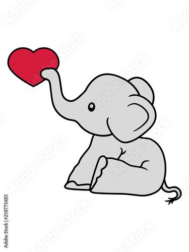 Herz Liebe Schenken Verliebt Elefant Sitzend Süß Kalb Klein Kind