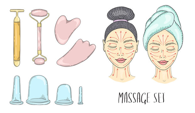 The girl s face with closed eyes and drawn massage line and tools for massage.