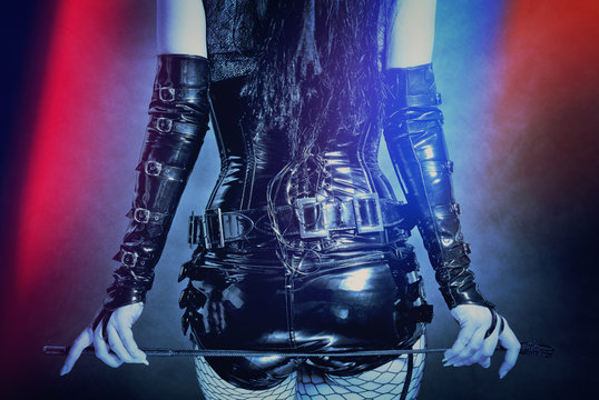 woman in black latex corset