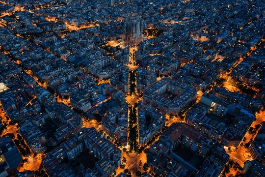 Barcelona street night aerial View