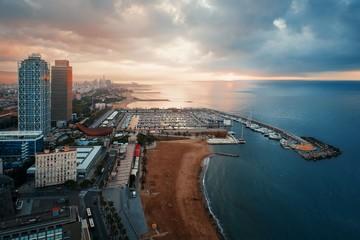 Barcelona Coast aerial sunrise view Wall mural