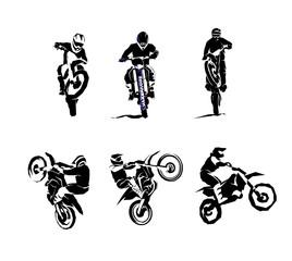 Custom vertical slats sports with your photo Extreme bike big vector set 6x, motocross
