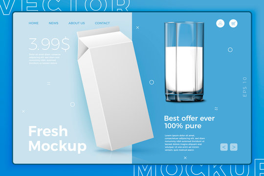 Vector realistic 3d white milk pack with glass, isolated on bright modern site template with typographic background. Mock-up for product package branding.
